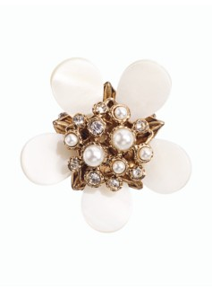 Mother-Of-Pearl Flower Brooch