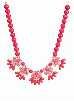 Faceted Bead Flower & Pav� Necklace