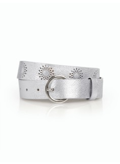 Womans Perforated Pebble Leather Belt-Metallic