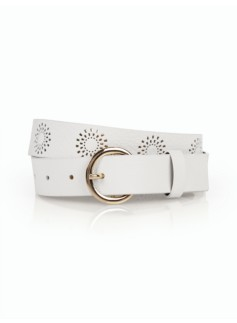 Woman Perforated Pebble Leather Belt