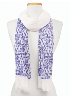 Embroidered-Leaves Scarf