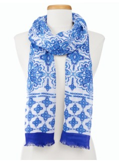 Ornate Tile-Print Scarf