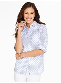 The Perfect Elbow-Sleeve Shirt - Diamond Print