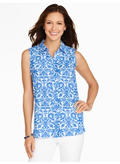The Perfect Sleeveless Shirt - Damask Print