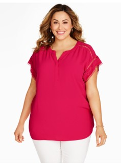 Crepe Short-Sleeve Blouse