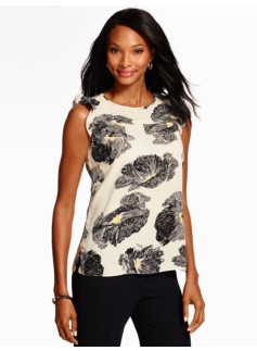 Flutter-Sleeve Blouse - Graphic Blossoms