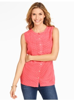 Sleeveless Linen Pintucked Blouse - Fun Fair Dots