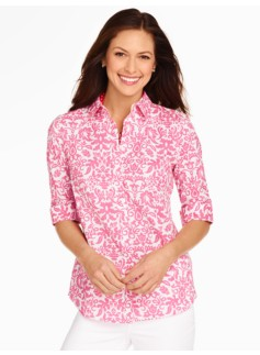 The Perfect Elbow-Sleeve Shirt - Damask Print