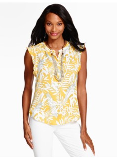 Flutter-Sleeve Blouse - Breezy Palms