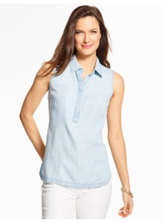 Sleeveless Denim Popover - Icy Bleach Wash
