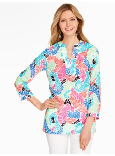 Woodblock Leaves Tunic