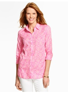 Summer-Light Cotton Shirt - Medallion Print