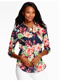 Summer-Light Cotton Shirt - Tropical Flowers