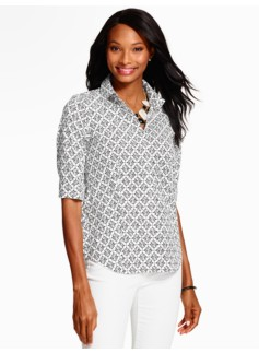 The Perfect Elbow-Sleeve Shirt - Quatrefoil