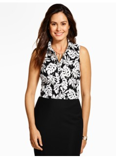 The Perfect Sleeveless Shirt - Leaves