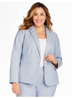 Delphi Stripe Single-Button Blazer