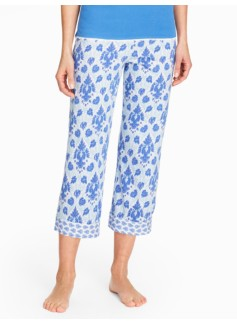 Damask Paisley Cropped Pants