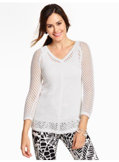 Chevron-Pointelle Sweater