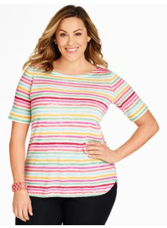 Watercolor Stripe Elbow Sleeve Pullover