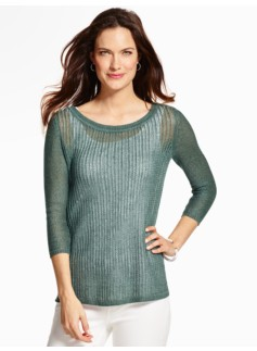 Mixed-Pointelle Sweater