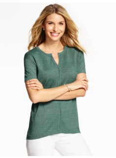 Linen Short-Sleeve Sweater