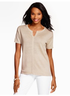 Linen Short-Sleeve Sweater-Sparkle
