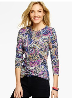 Long-Sleeve Crewneck Tee - Paisley