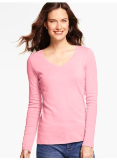 Pima Cotton Long-Sleeve V-Neck Tee - The Talbots Tee