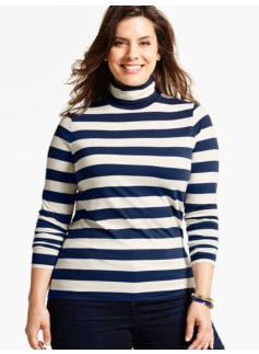 The Classic Turtleneck Tee - Bold Stripes