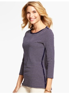 Weekend Rib Side-Button Tee- Stripes