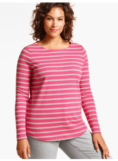 Castine Stripes Zip-Shoulders Tee