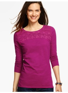 Lace-Trimmed Round-Neck Tee