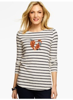 Sequin Fox Stripe Tee