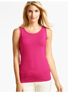 Woven-Inset Scoopneck Tank