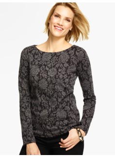 Lotus Jacquard Long-Sleeve Top