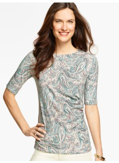Ruched-Side Top-Paisley