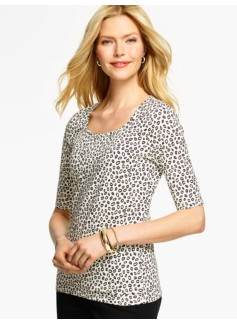 Elbow-Sleeve Rounded Square-Neck Tee- Abstract Dots
