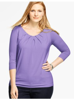 Pleated Scoopneck Top