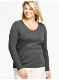 Pima Cotton Long-Sleeve V-Neck Tee - Shadow Heather