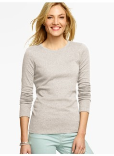 Pima Cotton Long-Sleeve Crewneck Tee-Heathered