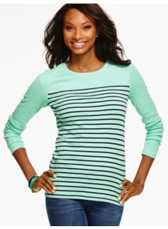 Long-Sleeve Crewneck Tee - Biddeford Stripes