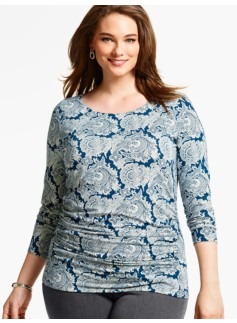 Ruched-Side Top - Elegant Paisley
