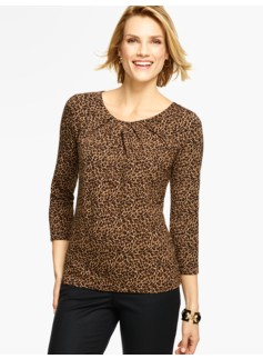 Pleated Scoopneck Top - Animal Print