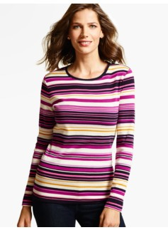 Long-Sleeve Crewneck Tee - Row Stripes