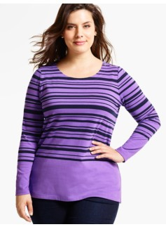 Heavyweight Long-Sleeve Knit Jersey Top - Marion Stripe
