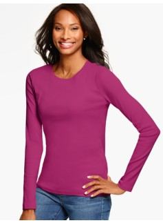 Pima Cotton Long-Sleeve Crewneck Tee