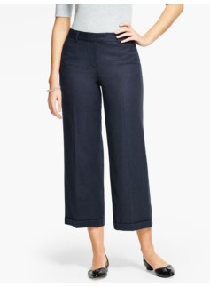 Italian Flannel Cuffed Wide-Leg Crop