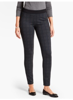 Refined Ponte Knit Legging-Glen Plaid