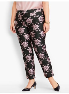 Woman Rose Jacquard Ankle Pant