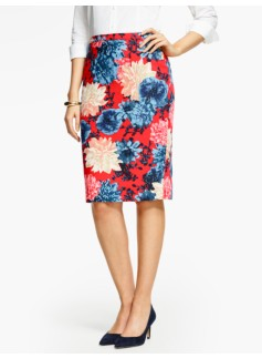 Bold Dahlias Pencil Skirt